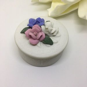 Small trinket box jewelry holder porcelain flowers